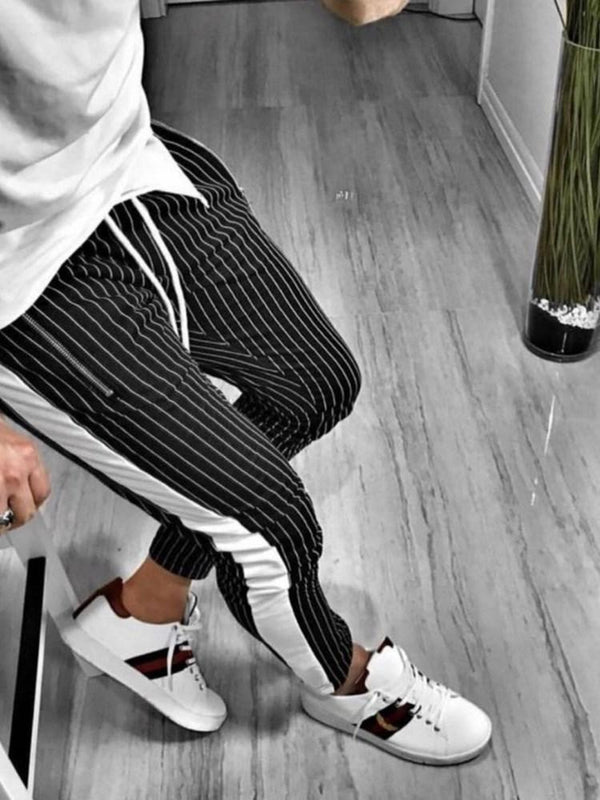 Zipper Pencil Pants Stripe Spring Mid Waist Casual Pants
