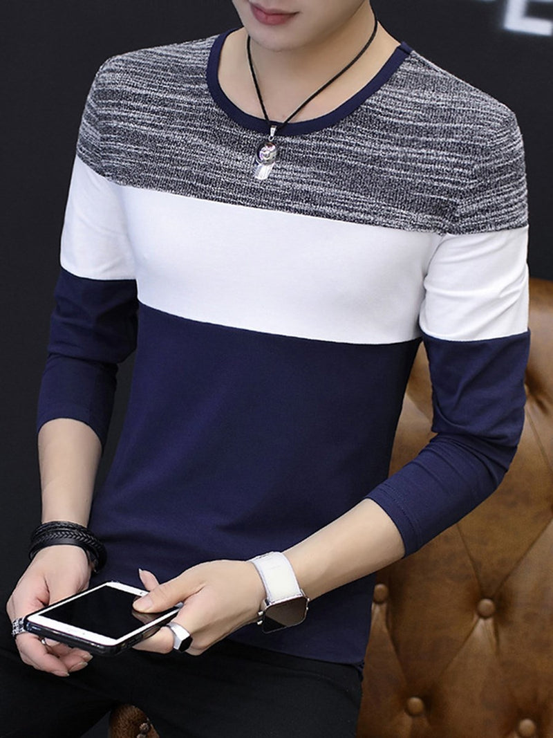 Round Neck Patchwork Color Block Long Sleeve Slim T-shirt