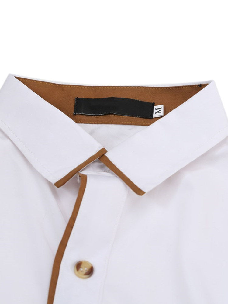 Casual Lapel Color Block Spring Single-Breasted Shirt