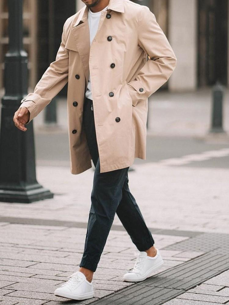 Mid-Length Button Plain Double-Breasted Casual Trench Coat