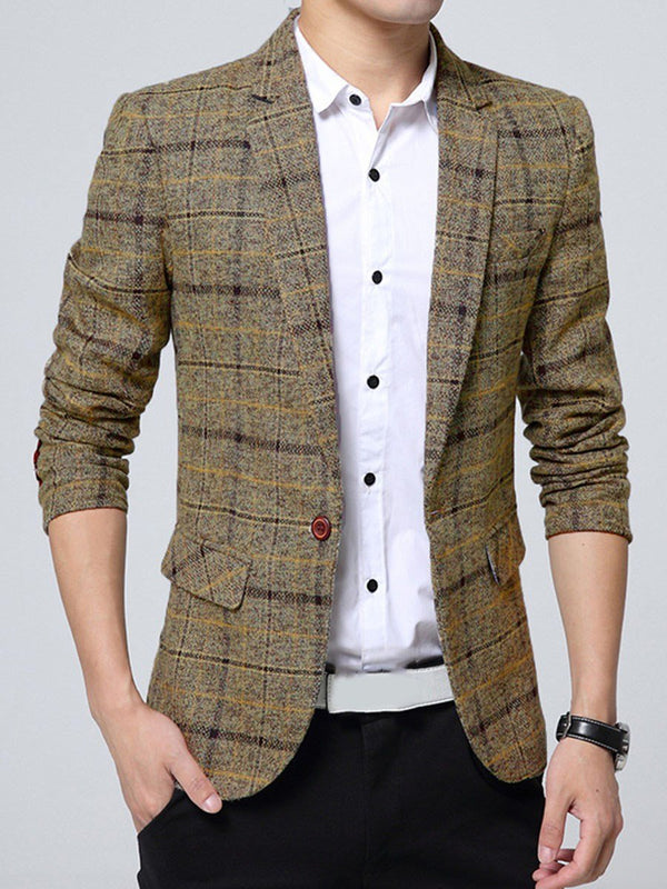 Plaid Patchwork One Button leisure Suit