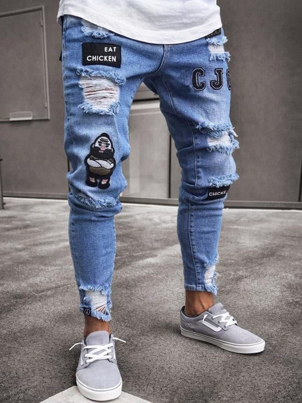 Pencil Pants Hole European Zipper Jeans