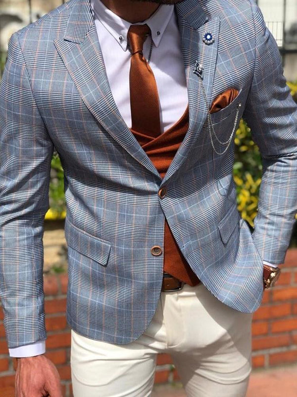 Plaid Fashion Button Blazer