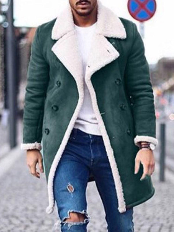 Mid-Length Color Block Button Fashion Winter Coat