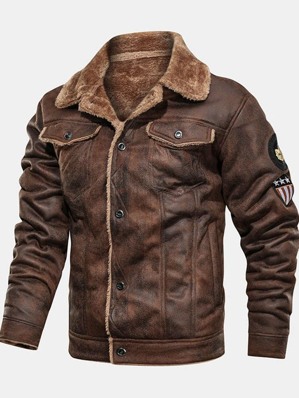 Standard Color Block Lapel Patchwork Single-Breasted Leather Jacket