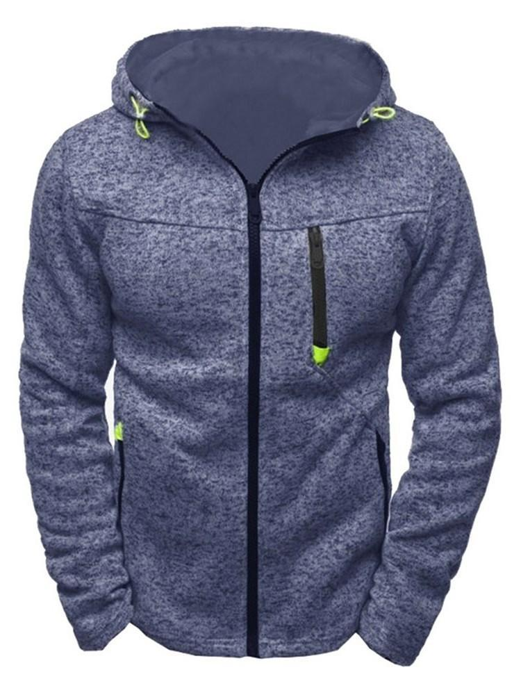 Cardigan Thick Patchwork Zipper Casual Hoodies