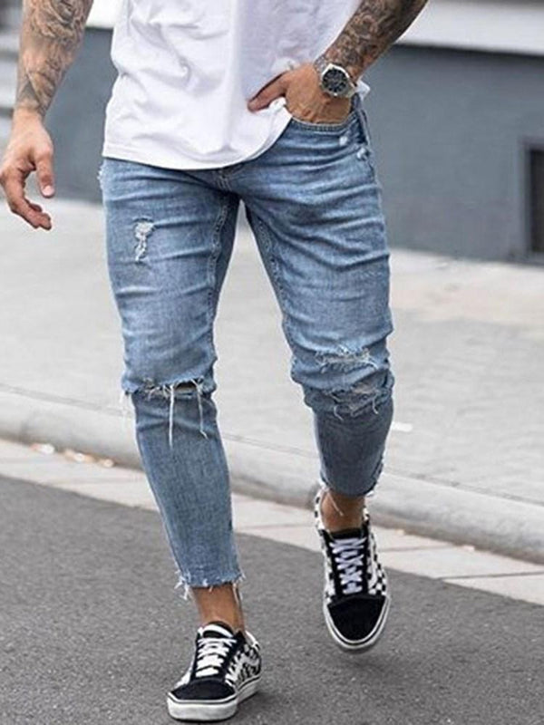 Pencil Pants Hole Plain Mid Waist Zipper Jeans