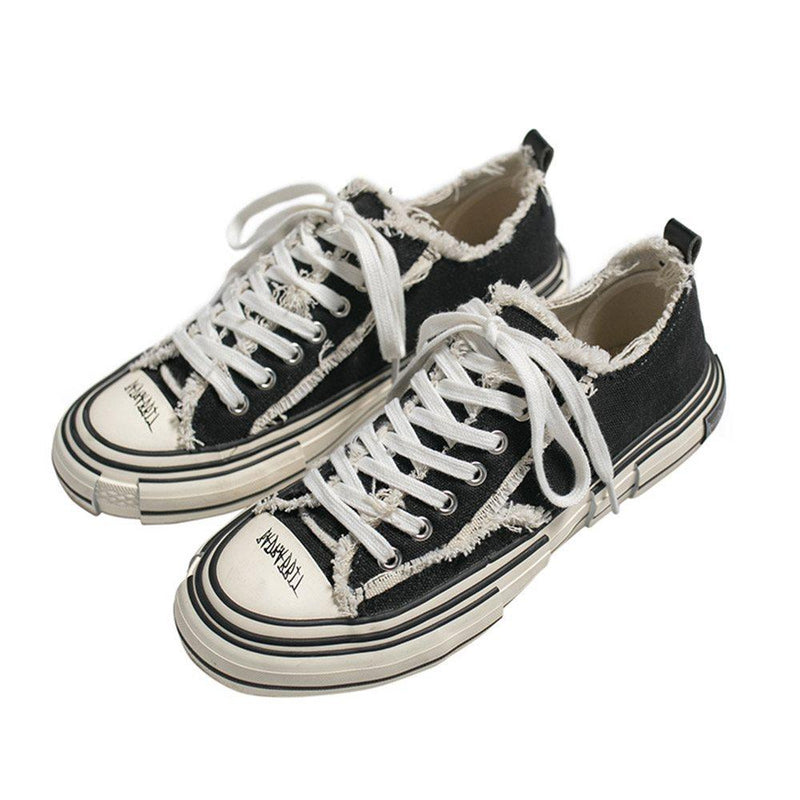 Low-Cut Upper Lace-Up Flat With Round Toe Skate Shoes