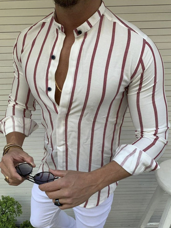 Stripe Button Stand Collar Spring Slim Shirt