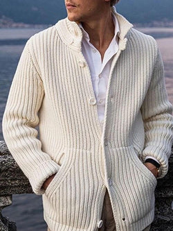 Plain Stand Collar Button Single-Breasted Casual Sweater