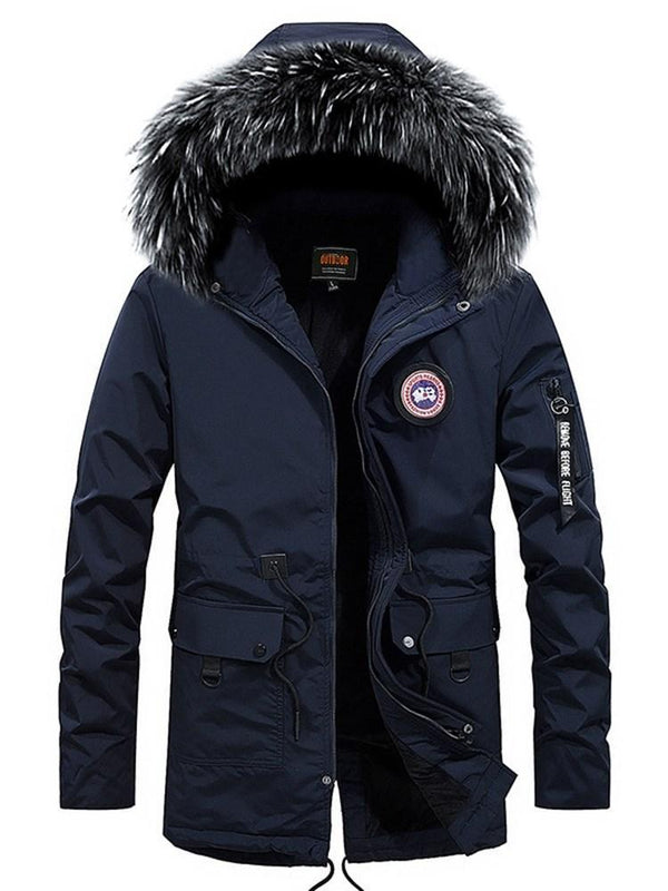 Mid-Length Pocket Plain Casual Zipper Down Jacket