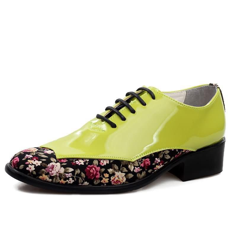 Floral Low-Cut Upper PU Round Toe Leather Shoes