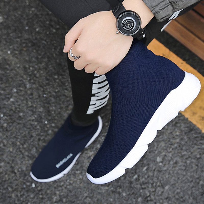 Korean Slip-On High-Cut Upper Round Toe Sneakers