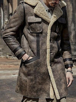 Color Block Patchwork Mid-Length Vintage A Line Coat