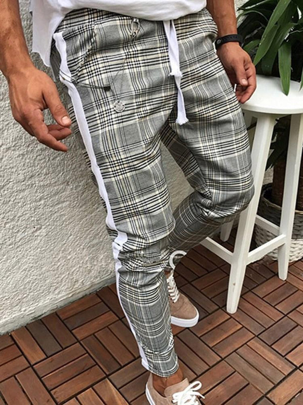 Print Plaid Harem Lace-Up Spring Casual Pants