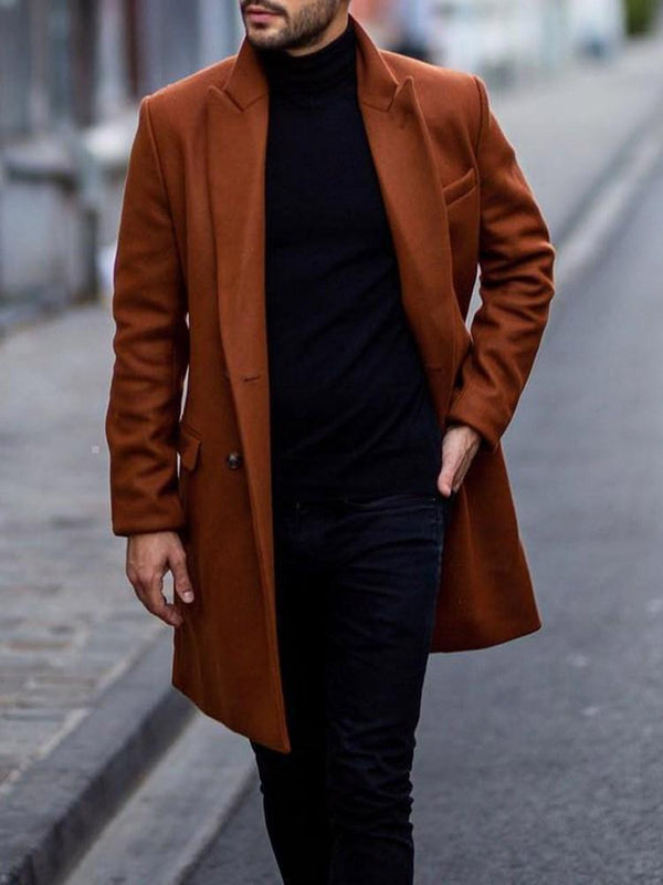 Long Button Plain Winter Straight Coat
