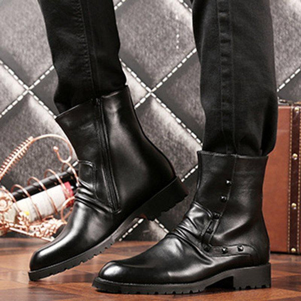 Plain Side Zipper Round Toe PU Boots