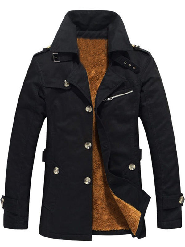 Plain Lapel Mid-Length European Single-Breasted Down Jacket