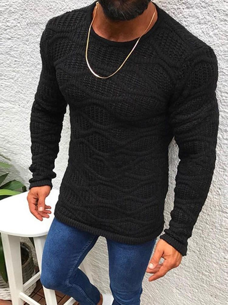 Plain Mid-Length Round Neck Casual Slim Sweater