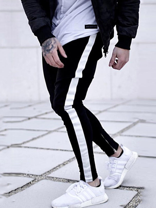 Color Block Patchwork Pencil Pants European Mid Waist Jeans