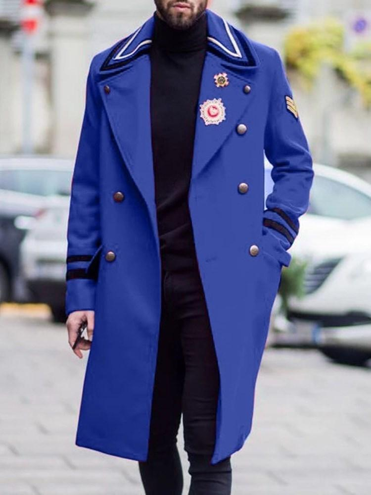 Pocket Long Color Block Double-Breasted Casual Coat