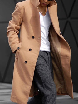 Pocket Plain Long Fall A Line Coat