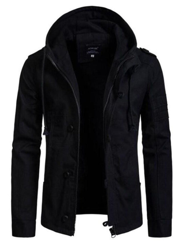 Hooded Zipper Plain Loose Casual Jacket