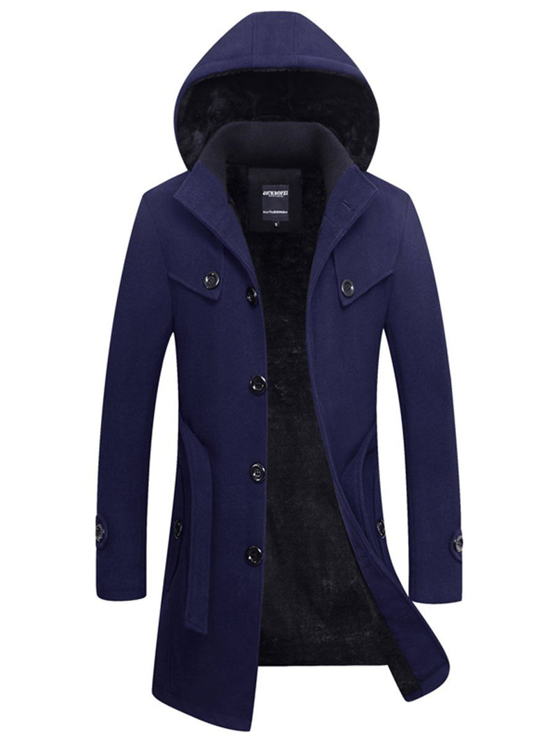 Plain Stand Collar Mid-Length Fall Slim Trench Coat