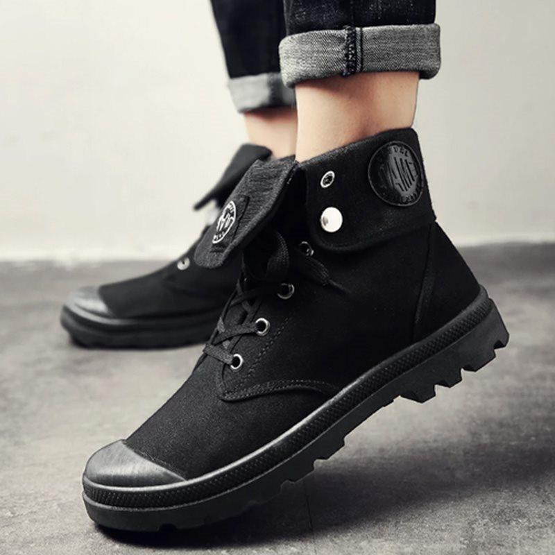 Patchwork Lace-Up Front Round Toe Boots