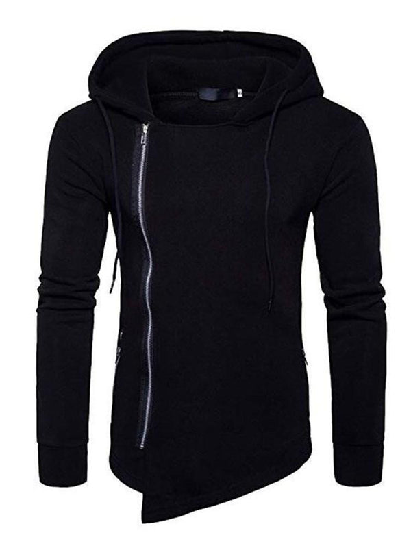Zipper Thick Plain Zipper Slim Hoodies