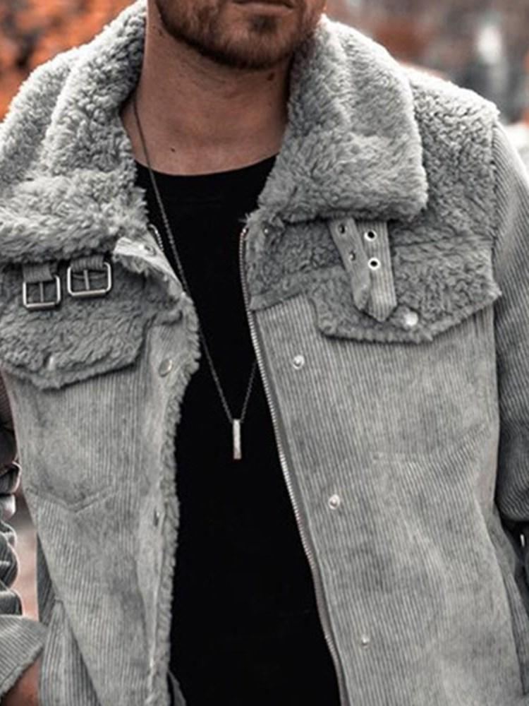 Plain Lapel Patchwork Zipper Casual Jacket