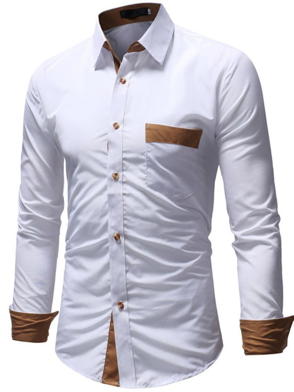 Lapel Patchwork Color Block Single-Breasted Slim Shirt