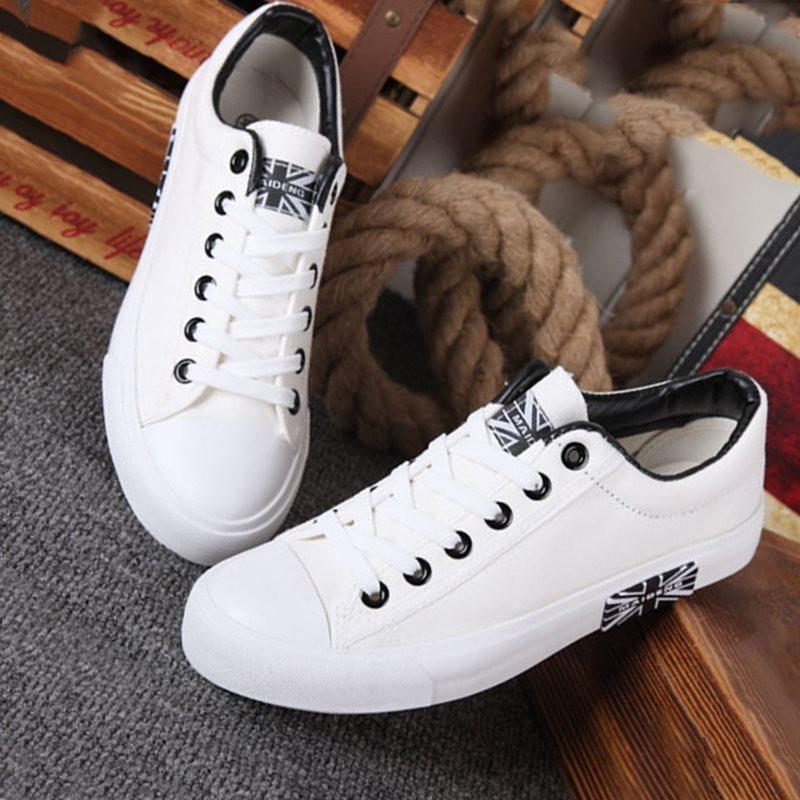 Lace-Up Plain Low-Cut Upper Round Toe Skate Shoes