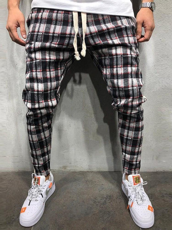Pencil Pants Lace-Up Color Block Mid Waist Lace-Up Casual Pants