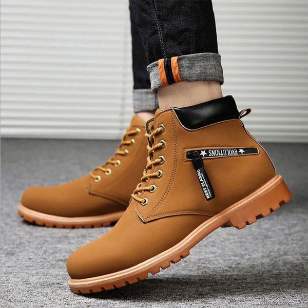 Plain Round Toe Lace-Up Front PU Boots