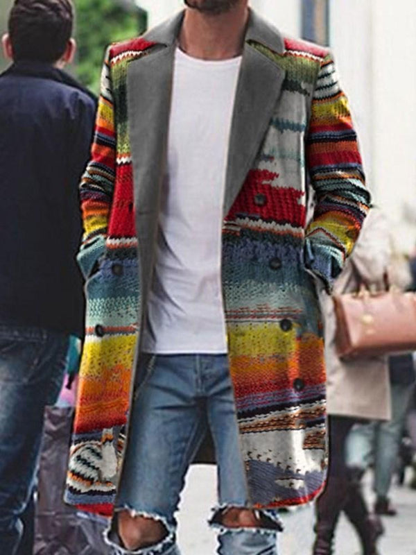 Color Block Pocket Mid-Length Winter Casual Coat
