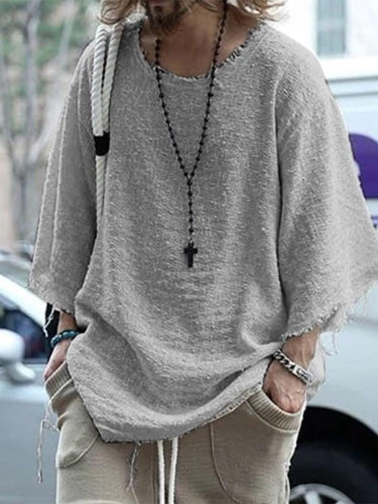 Round Neck Plain Casual Nine Points Sleeve Loose T-shirt