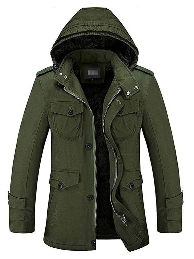 Hooded Plain Button Casual Winter Jacket