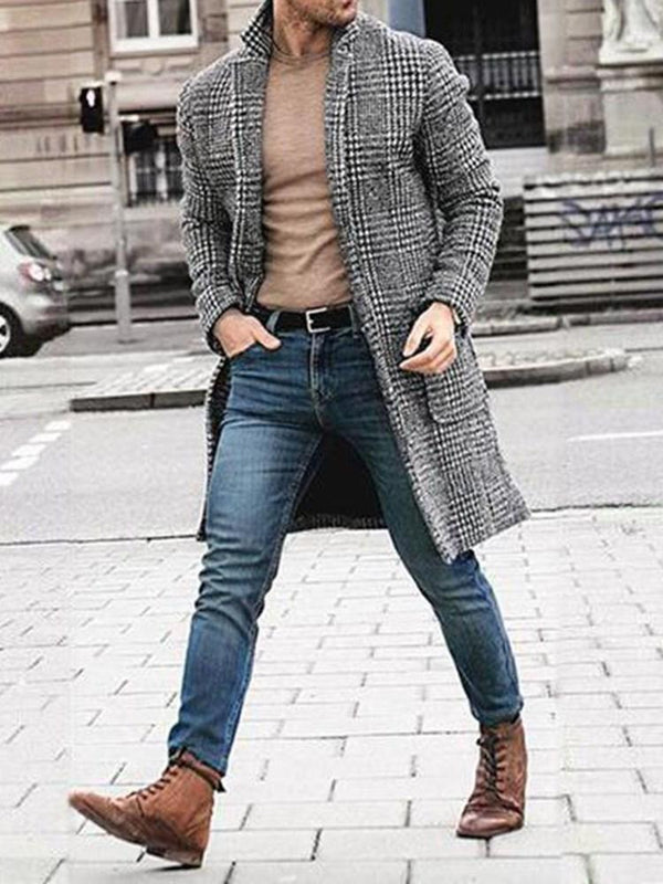 Plaid Lapel Mid-Length Casual Fall Coat