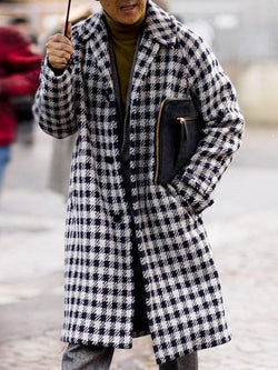 Lapel Color Block Button Fall Casual Coat