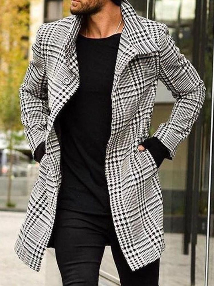 Button Long Plaid Single-Breasted A Line Coat