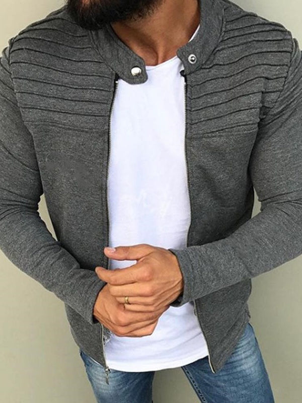 Stand Collar Plain Spring Zipper Jacket