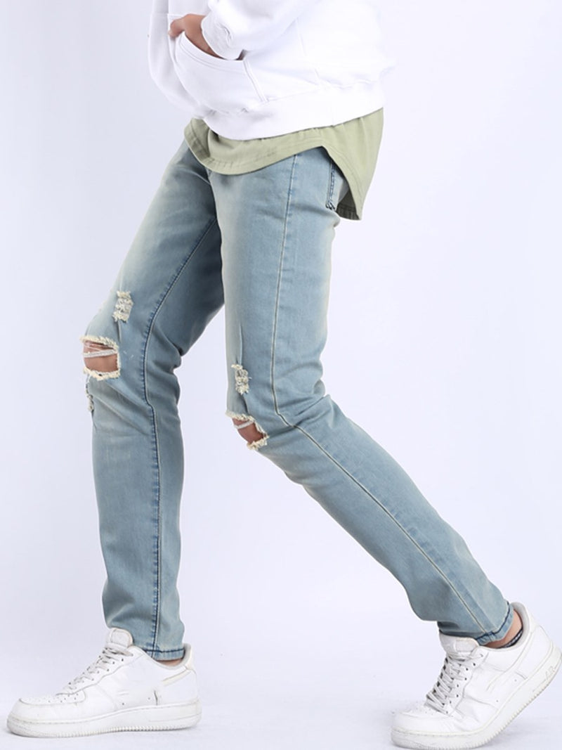 Hole Pencil Pants Plain Zipper Mid Waist Jeans