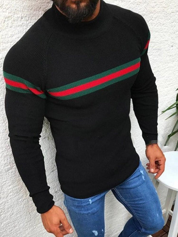 Standard Color Block Slim Fall Sweater