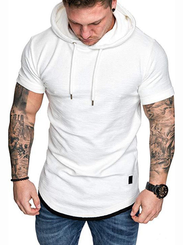 Plain Lace-Up Hooded Slim Short Sleeve T-shirt