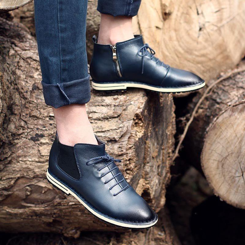 Plain PU Round Toe Leather Shoes