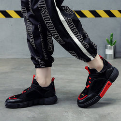 Low-Cut Upper Korean Lace-Up Round Toe Mesh Sneakers