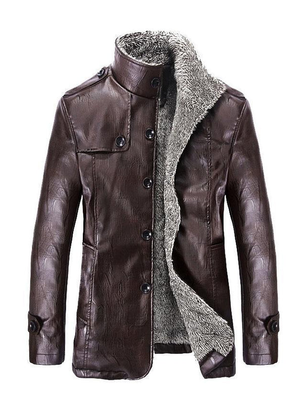Stand Collar Mid-Length Slim Single-Breasted Leather Jacket