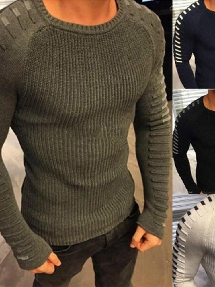 Color Block Standard Round Neck Casual Slim Sweater
