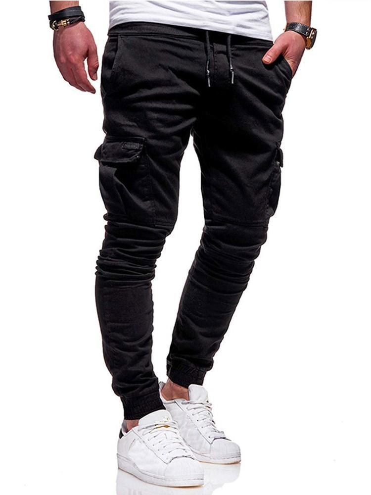 Plain Mid Waist Casual Casual Pants